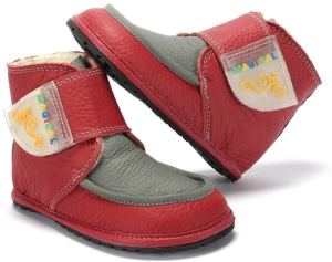 Winter Kinder Barfußschuhe Magical Shoes Ziu Ziu rot-grau (Größe: 30 20,0 cm Innenlänge 8,2 cm Innenbreite)