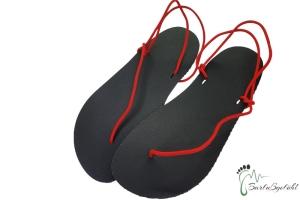 Barfußgefühl Sandals- handgefertigt - vegan - schwarz/rot - Huarache (Farbe: EU 36 / 23,3 cm - 23,9 cm)