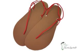 Barfußgefühl Sandals- handgefertigt - vegan - braun/rot - Huarache (Farbe: EU 37 / 24 cm - 24,5 cm)