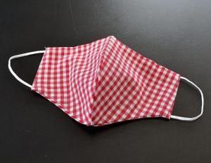 Alltags-Stoffmaske doppellagig - rot kariert - 100% Baumwolle OEKO-TEX® 100 Standard