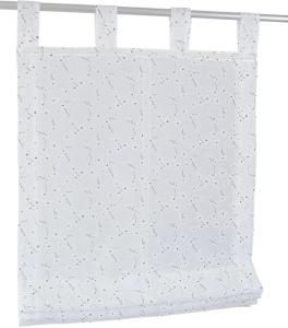 Raffrollo / Schlaufenrollo Linn für die Gardinenstange   weiß - Breite 45 - 120 cm (Maße des Raffrollos / Schlaufenrollos: 45 cm x 140 cm)