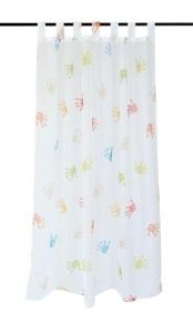 Vor-x-Gardine Schlaufenschal Kinder Hände  weiss - Höhe 145 cm - 245 cm (1 Stück) (Maße des Vorhangs / Schlaufenschals: 135 cm x 145 cm)