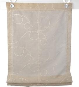 Raffrollo / Ösenrollo Jasmin Stick zum komplett werkzeuglosen Aufhängen   beige - Breite 45 - 100 cm (Breite: 45 cm x 130 cm)
