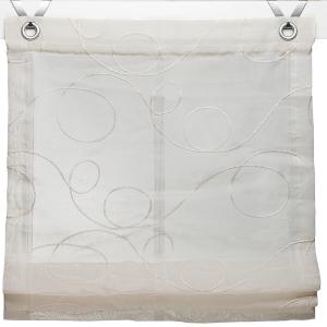Raffrollo / Ösenrollo Jasmin Stick zum komplett werkzeuglosen Aufhängen   creme - Breite 45 - 120 cm (Breite: 45 cm x 130 cm)