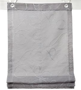 Raffrollo / Ösenrollo Jasmin Stick zum komplett werkzeuglosen Aufhängen   grau - Breite 45 - 100 cm (Breite: 45 cm x 130 cm)