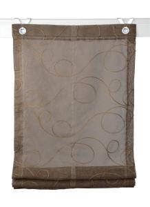 Raffrollo / Ösenrollo Jasmin Stick zum komplett werkzeuglosen Aufhängen   mokka - Breite 45 - 100 cm (Breite: 45 cm x 130 cm)