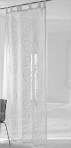 Vor-x-Gardine Schlaufenschal Jasmin Stick -  weiss   Maßanfertigung (1 Stück) (Höhe des Vorhangs / Ösenschals: Breite 135 cm x Höhe bis 175 cm)