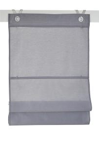 Raffrollo / Ösenrollo Kessy Bessy zum komplett werkzeuglosen Aufhängen   grau - Breite 45 - 100 cm (Maße des Raffrollos / Ösenrollos: 45 cm x 140 cm)