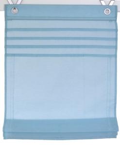 Raffrollo / Ösenrollo Kessy Biese zum komplett werkzeuglosen Aufhängen   aqua - Breite 45 - 100 cm (Breite des Raffrollos / Ösenrollos: 45 cm x 140 cm)