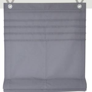 Raffrollo / Ösenrollo Kessy Biese zum komplett werkzeuglosen Aufhängen   grau - Breite 45 - 100 cm (Breite des Raffrollos / Ösenrollos: 45 cm x 140 cm)