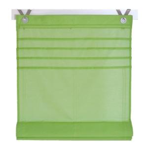 Raffrollo / Ösenrollo Kessy Biese zum komplett werkzeuglosen Aufhängen   grün - Breite 45 - 100 cm (Breite des Raffrollos / Ösenrollos: 45 cm x 140 cm)