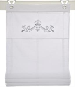 Raffrollo / Ösenrollo Kessy Crown zum komplett werkzeuglosen Aufhängen   weiss - Breite 45 - 100 cm (Breite des Raffrollos / Ösenrollos: 45 cm x 140 cm)