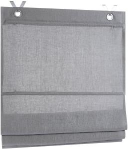 Raffrollo / Ösenrollo Metis zum komplett werkzeuglosen Aufhängen   grau - Breite 45 - 100 cm (Maße des Raffrollos / Ösenrollos: 45 cm x 140 cm)
