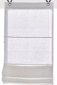 Raffrollo / Ösenrollo Metis zum komplett werkzeuglosen Aufhängen   weiß - Breite 45 - 100 cm (Maße des Raffrollos / Ösenrollos: 45 cm x 140 cm)