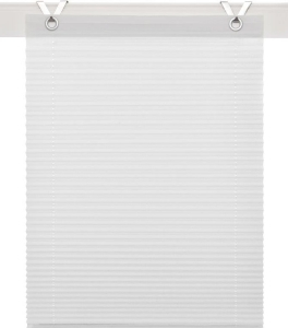 Plissee / Ösenrollo Olbia zum komplett werkzeuglosen Aufhängen   weiss - Breite 40 - 100 cm (Breite des Raffrollos / Ösenrollos: 40 cm x 125 cm)