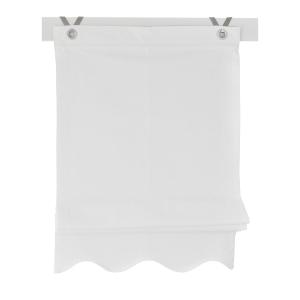 Raffrollo / Ösenrollo Olivia zum komplett werkzeuglosen Aufhängen   weiss - Breite 45 - 120 cm (Breite des Raffrollos / Ösenrollos: 45 cm x 140 cm)