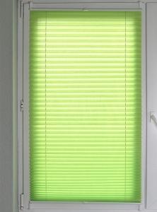 Plissee Brisa Lichtschutz ohne Bohren   grün - Breite 50 - 110 cm (Breite des Raffrollos / Ösenrollos: 50 cm x 140 cm)
