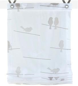 Raffrollo / Ösenrollo Birds zum komplett werkzeuglosen Aufhängen   weiss - Breite 45 - 100 cm (Breite des Raffrollos / Ösenrollos: 45 cm x 140 cm)