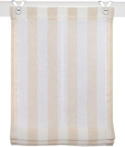 Raffrollo / Ösenrollo Bornholm zum komplett werkzeuglosen Aufhängen   creme - Breite 45 - 100 cm (Breite des Raffrollos / Ösenrollos: 45 cm x 130 cm)