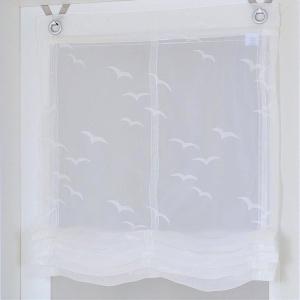 Raffrollo / Ösenrollo Seabird zum komplett werkzeuglosen Aufhängen   weiss - Breite 45 - 100 cm (Breite des Raffrollos / Ösenrollos: 45 cm x 130 cm)