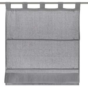 Raffrollo / Schlaufenrollo Metis für die Gardinenstange  grau - Breite 45 - 120 cm (Maße des Raffrollos / Ösenrollos: 45 cm x 140 cm)