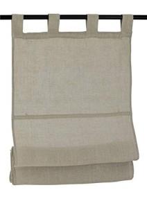 Raffrollo / Schlaufenrollo Metis für die Gardinenstange   linen - Breite 45 - 120 cm (Maße des Raffrollos / Schlaufenrollos: 45 cm x 140 cm)