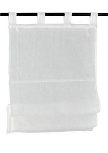 Raffrollo / Schlaufenrollo Metis für die Gardinenstange   weiß - Breite 45 - 120 cm (Maße des Raffrollos / Ösenrollos: 45 cm x 140 cm)