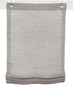 Raffrollo / Ösenrollo Skagen zum komplett werkzeuglosen Aufhängen   grau - Breite 45 - 100 cm (Breite des Raffrollos / Ösenrollos: 45 cm x 130 cm)