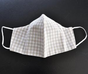 Alltags-Stoffmaske doppellagig - beige kariert - 100% Baumwolle OEKO-TEX® 100 Standard