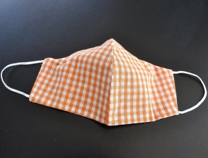 Alltags-Stoffmaske doppellagig - orange kariert - 100% Baumwolle OEKO-TEX® 100 Standard
