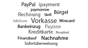 Breite Palette an Zahlungsvarianten.